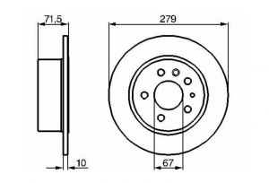Brake Disc Rear Axle Mercedes W115 W116 W123 R107
